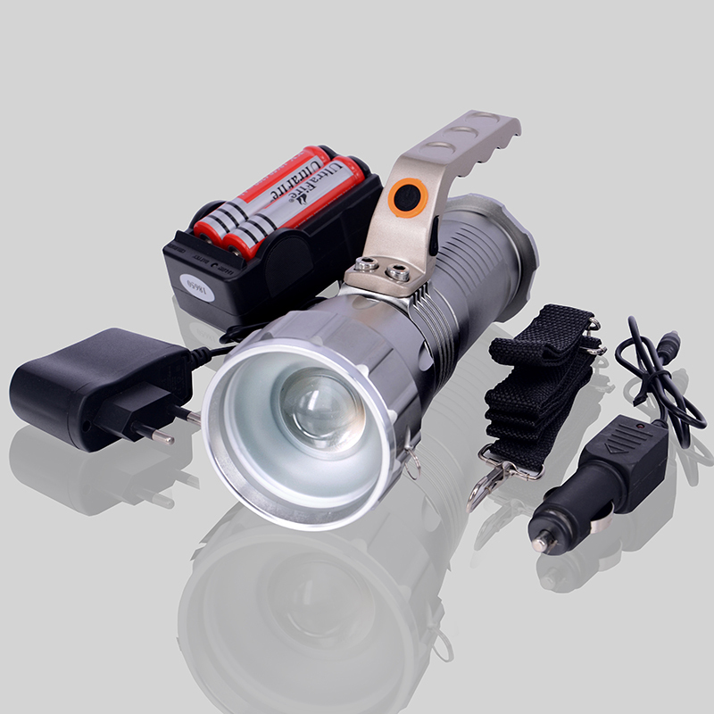 New 2000 Lumens 5-Mode CREE XM-L T6 LED Flashlight Zoomable Focus Torch + 2*18650 Battery + Charger