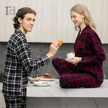 Autumn Winter Thicken Models couple Flannel 100% Cotton Home set Plaid Style Pajamas nightdress Pyjamas