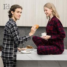 Autumn Winter Thicken Models couple Flannel 100% Cotton Home set Plaid Style Pajamas nightdress Pyjamas
