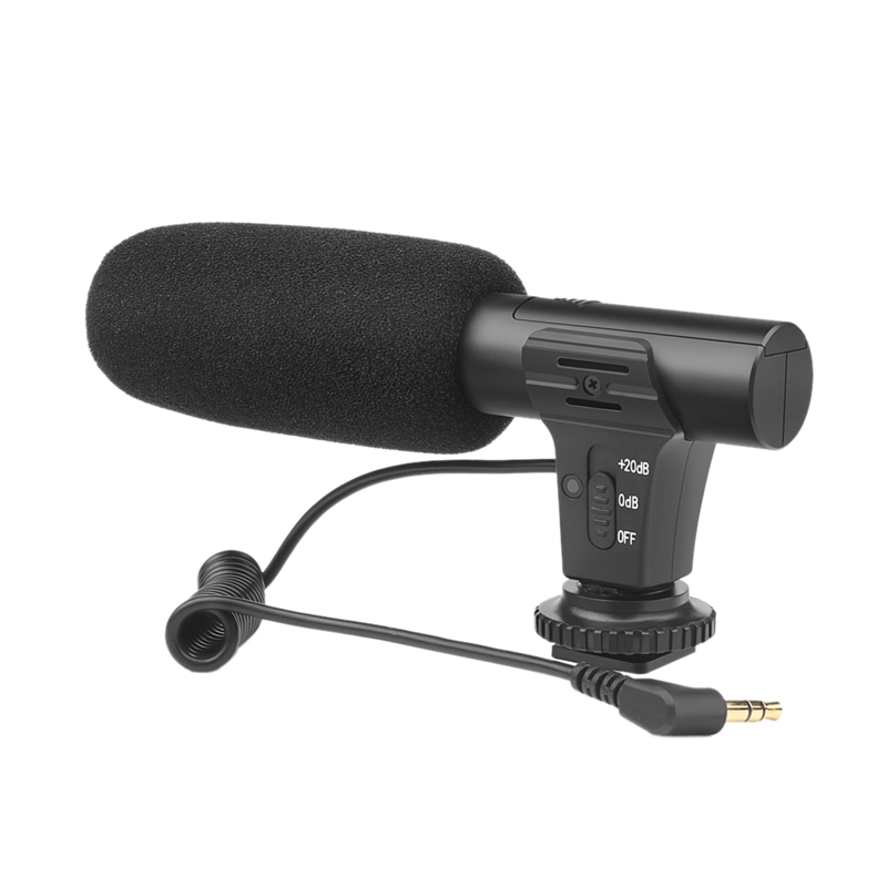 Shoot Xtk191 Condenser Stereo Microphone Mic With 3.5Mm Jack Hot Shoe Mount For Canon Camera Camcorder Dv Smartphone For Video(China)