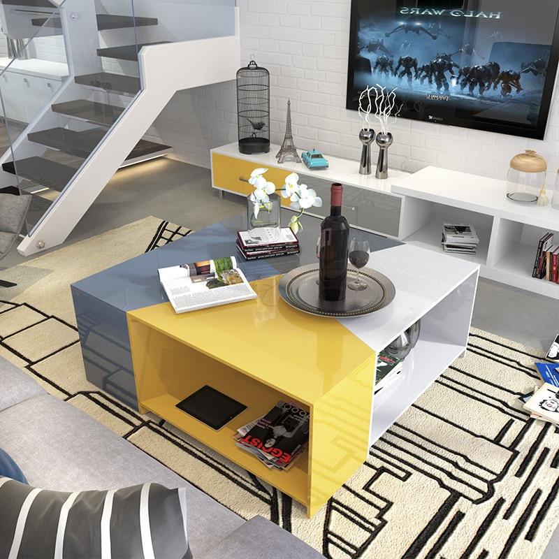 Moderna e design simples colorido cozimento pintura a qualquer forma de chá mesa de café com armazenamento para pequena sala de estar