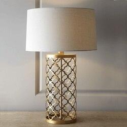 Tkaniny lampa stołowa złoty American proste ciepłe kreatywny Retro Loft w stylu amerykańskim oświetlenie dla domu sypialnia przedpokój hotelu