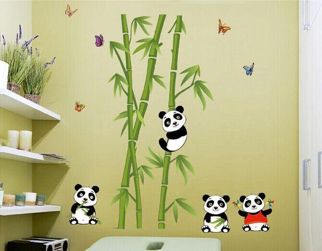 JM7281 new Panda bamboo children\'s room wall stickers cute sticker ...