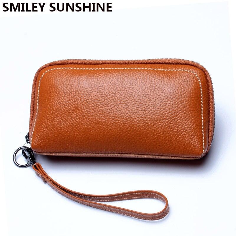 SMILEY SUNSHINE genuine leather women wallets <font><b>purse</b></font> big female wallet ladies card holder long clutch <font><b>purse</b></font> for <font><b>phone</b></font> wristlet