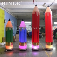 Hot sale display colorful giant inflatable pencil pillar with led lights and base blower for advertising