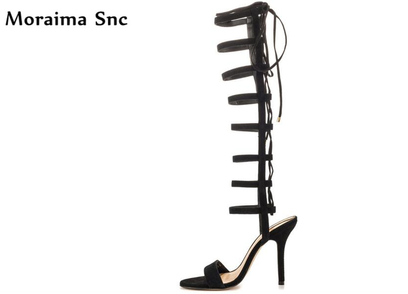 Moraima Snc summer Newest sexy women sandals cross-tied cut-out open toe sexy thin high heels slingback vintage suede sandals