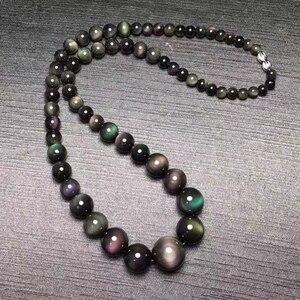 Image 2 - בסדר קשת עין שחור טבעי אובסידיאן אבן שרשרת עגול חרוז מגדל שרשרת שרשרת לנשים גברים תכשיטים JoursNeige