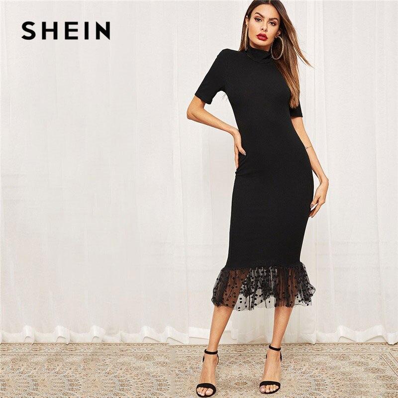 SHEIN noir forme élégante ajustement point maille ourlet robe mi-longue femmes d'été extensible moulante col montant sirène robes de soirée