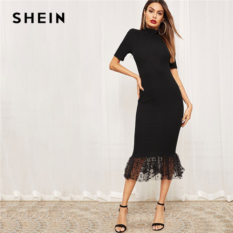 SHEIN Black Elegant Form Fitting Dot Mesh Hem Midi Dress Women Summer Stretchy Bodycon Stand Collar Mermaid Party Dresses