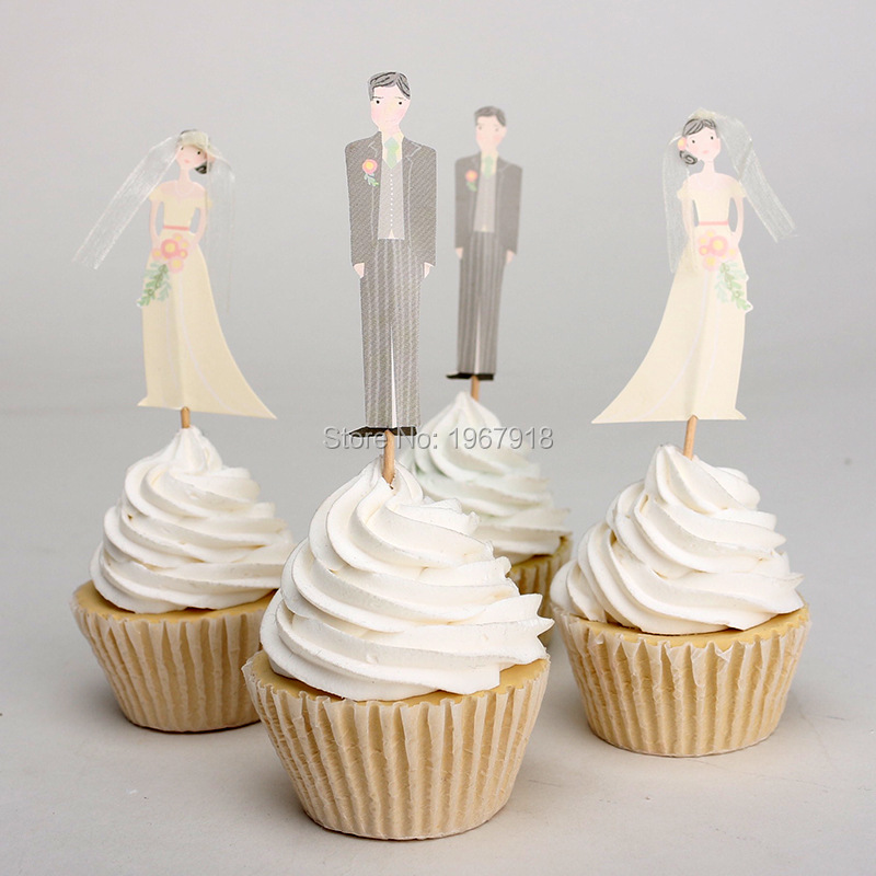 12pcspack Wedding Bride And Groom Cupcake Toppers Decoration Favors