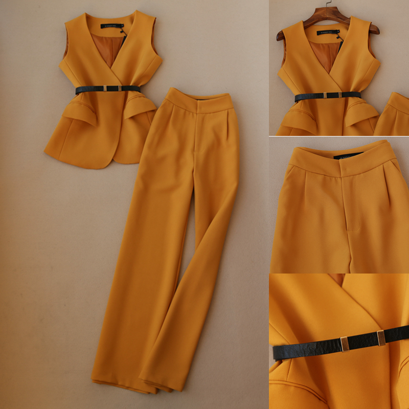 Spring New Fashion Suit Female Elegant Ladies Suit Vest Jacket   High Waist Straight Wide Leg Pants Trousers Loose Wild  Women