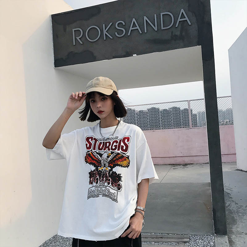 NiceMix Ladies Spring Summer Harajuku O Neck Casual T Shirt Women New Letter Eagle Printed Top Female Street Style Loose Tees in T Shirts from Women 39 s Clothing