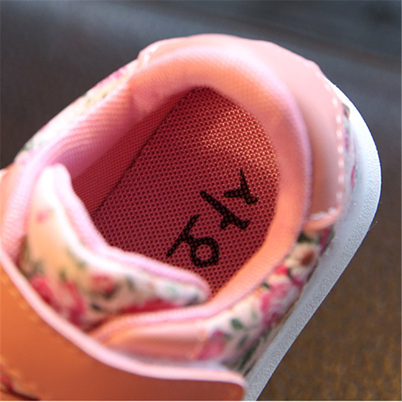 Cute Floral Pattern Design Baby Girls Shoes Comfortable Leather Kids Sneakers 4