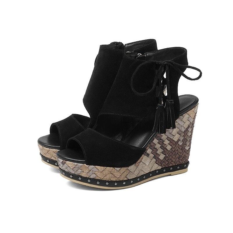 Zapatos Suave Toe Alto Sandalias Elegante Camel Plataforma Gamuza Vaca Mujer La Peep Intención De Verano oi0503 Oi0503 Original Tacón Cuñas Black wCwf8qS