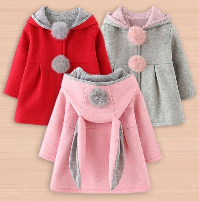 d75f9fcf7 Newborn Girls Coat Baby Spring Autumn Jacket Kids Infant Rabbit Long Ear  Hoodie Cotton Bebe Outerwear Children Girl Clothes Coat