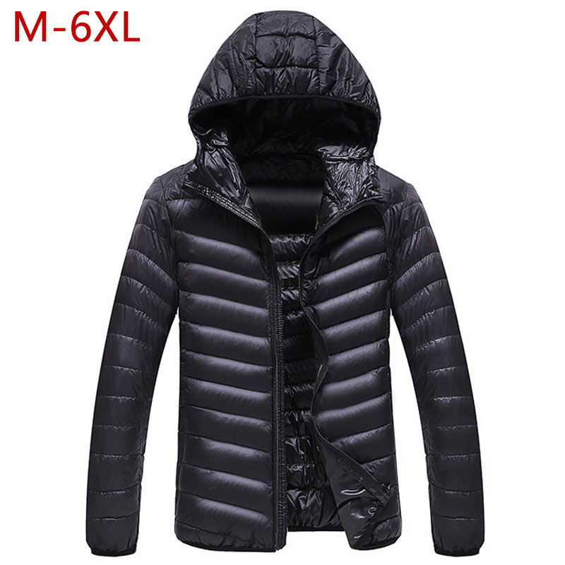 M-6XL Mens Casual White Duck   Down   Jackets Hooded Autumn Winter Male Solid Ultralight   Coat   Warm Windproof High Quality Outwear
