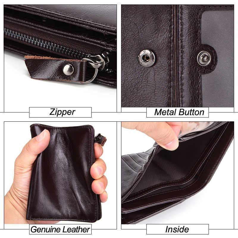 MISFITS Брендовые мужские кошельки из натуральной кожи из воловьей кожи унисекс RFID с защитой от кражи сканирующий короткий кошелек модный женский кошелек на молнии для монет
