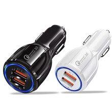 Автомобильное зарядное устройство 2 USB Смарт порт зарядное устройство Быстрая зарядка 3,0 2,0 Совместимость для iPhone X 8 7 6S 6 Plus 5 SE 5s 5 5CGalaxy S9 S8 S7 S6