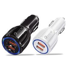 Cargador de coche 2 USB cargador de Puerto inteligente carga rápida 3,0 2,0 Compatible para iPhone 7 6X8 S 6 plus 5 SE 5S 5 5CGalaxy S9 S8 S7 S6