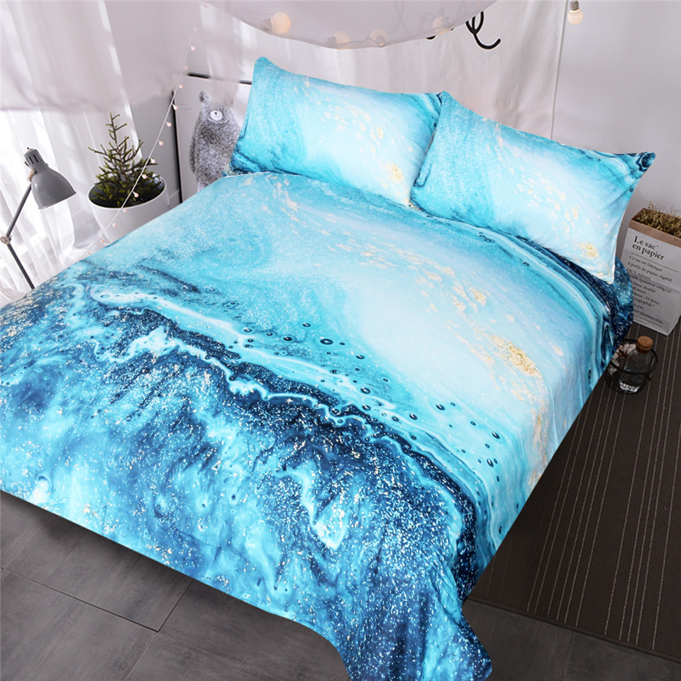 Buy Duvet Cover Us 27 84 45 Off Aliexpress Buy Blessliving Watercolor Bedding Set Golden And Blue Duvet Cover Set Ocean Waves Bed Cover Abstract Printed