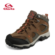 Clorts Mid-cut Waterproof Hiking Boots Women Men Cow Suede Breathable Mountain Shoes Anti-slip Outdoor Shoes HKM-820