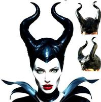 Halloween Evil Witch Maleficent Gothic Horn Cosplay Fancy Dress Hats Mask Queen Costume COS Black Soft
