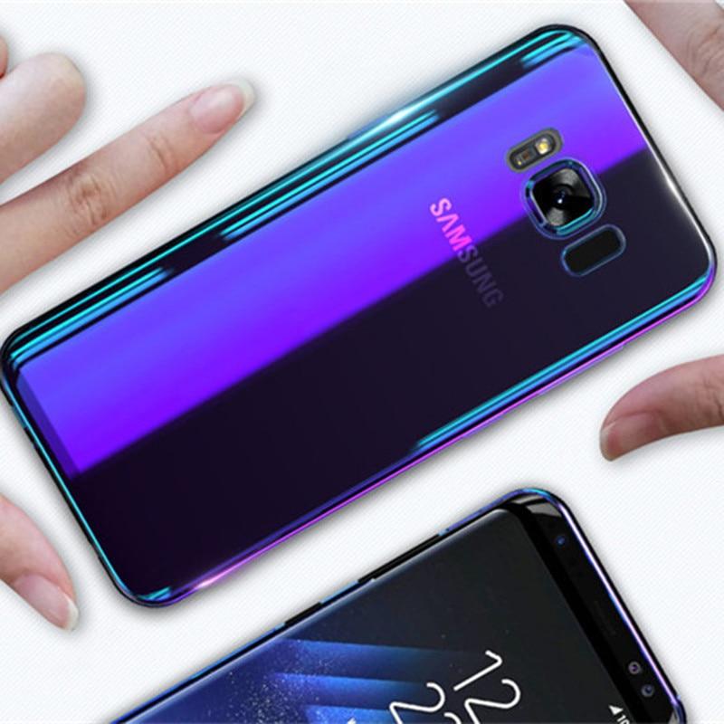 d1ac83dd933 Aurora Rayo Azul caso de teléfono para Samsung Galaxy S9 S9 Plus Ultra  delgada cubierta para Samsung S8 S7 borde Nota 8 9 casos Capa de Cove