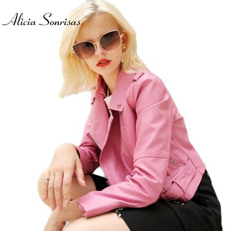 2018 Spring Pink Leather Jacket Female Biker Coat Long Sleeve Washed PU Soft Faux Leather College Black Motorcycle Jacket AS1063