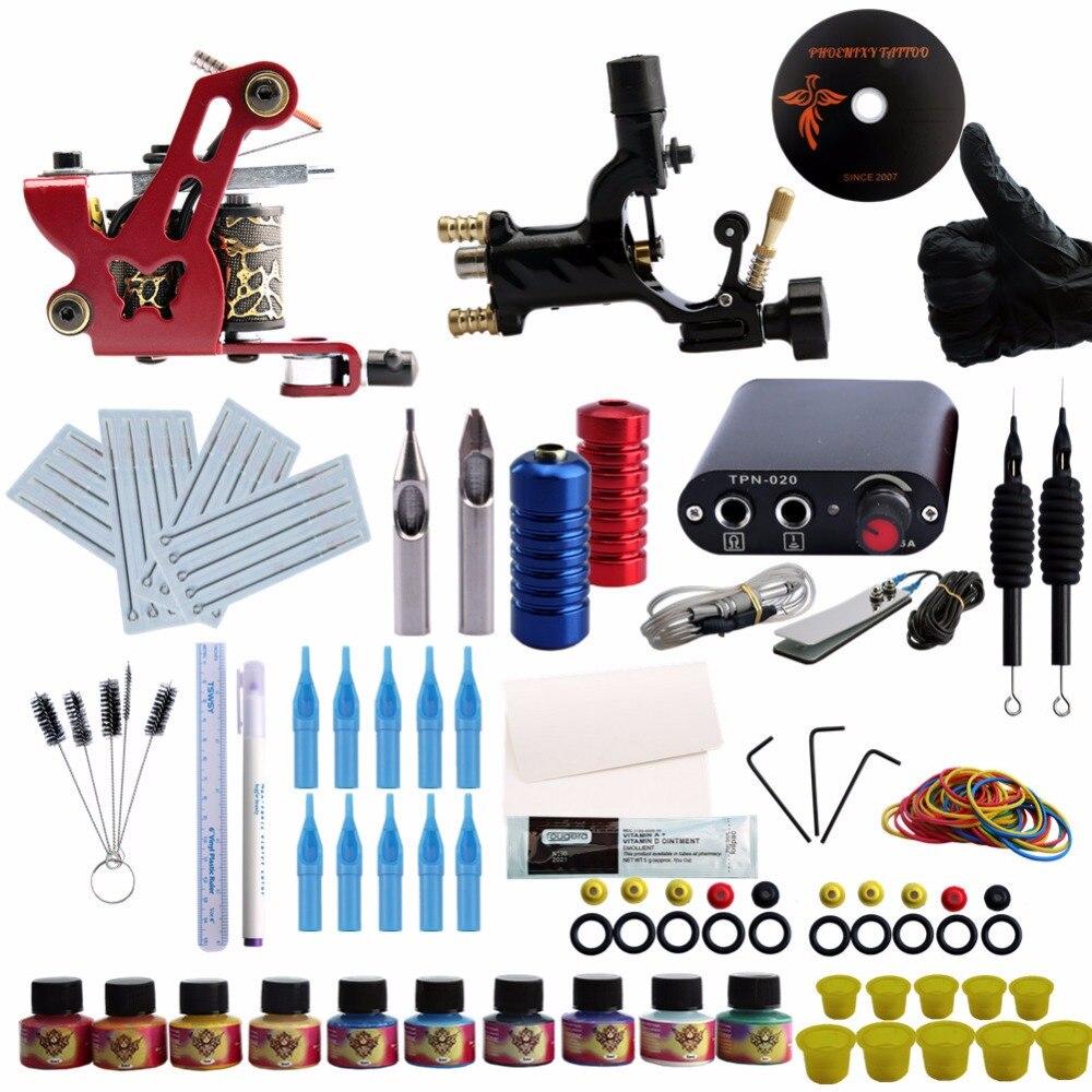 Pro Kit De Tatouage Complet 1 Rotatif Pistolet de Tatouage 1 Liner Shader Machine 10 Couleur Encres Grip Aiguilles Buses accessoires de tatouage