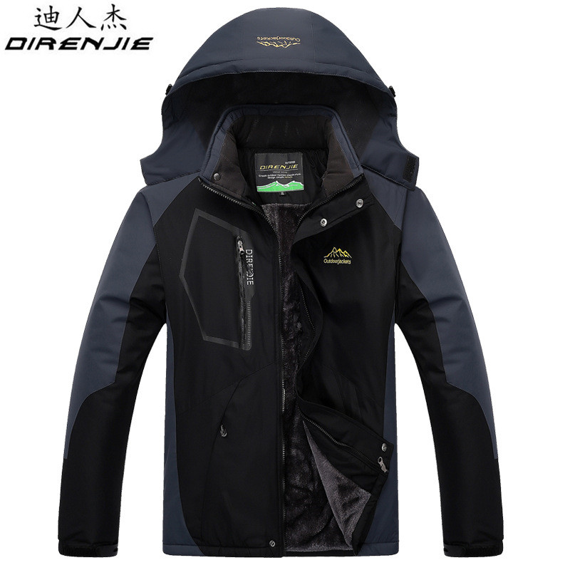 DIRENJIE Winter Outdoor Trekking Fishing Waterproof Windproof Keep warm Jackets Men's Hiking Camping Skiing Fleece Jackets 5XL direnjie man winter waterproof fishing camping trekking fleece softshell outdoor jacket pant set sport hiking trousers 5xl s36