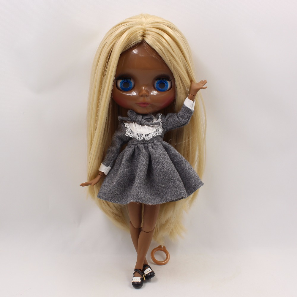 Neo Blythe Doll with Blonde Hair, Black Skin, Shiny Face & Jointed Body 5