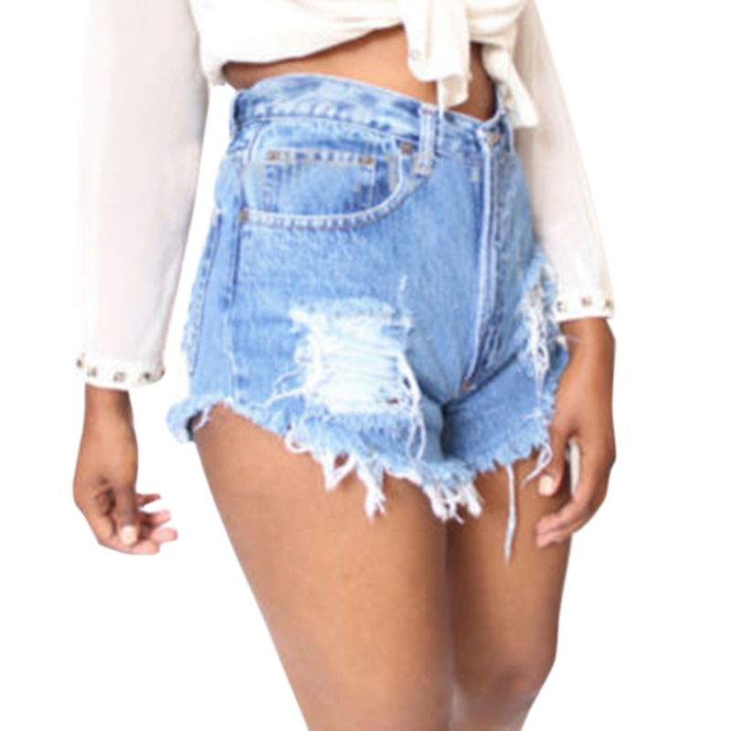 Jeans Shorts Sexy Plus-Size Femme Women's Woman Ladies Tassel Casual Ripped Sumen High-Waist