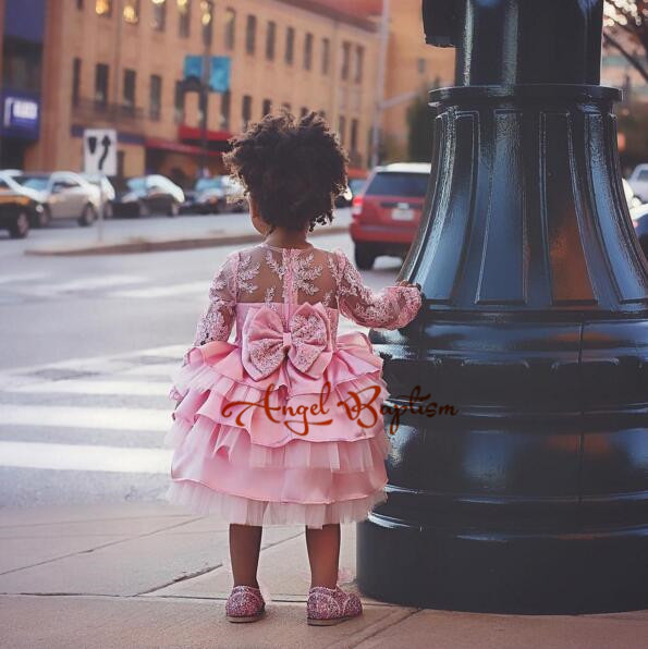 Cute pink lace flower girl dresses sheer sleeves appliqued baby girl dress tiered toddler pageant birthday dress for party gowns pink lace up design cold shoulder long sleeves hoodie dress