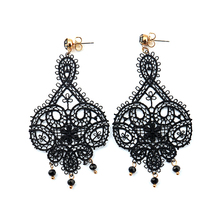 LWONG New Vintage Hollow Out White Black Lace Drop Earrings
