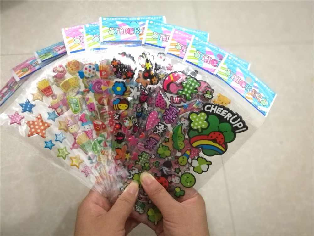 10Pcs Flower Butterfly DIY Bubble Stickers Cartoon Pegatinas Emoji PVC  Sticker Scrapbook