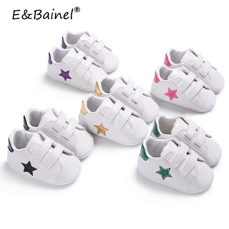 Five Star Print Baby Shoes Toddler First Walkers Baby Moccasins PU Leather Soft Soled Girls Sneakers Newborn Boys Footwears