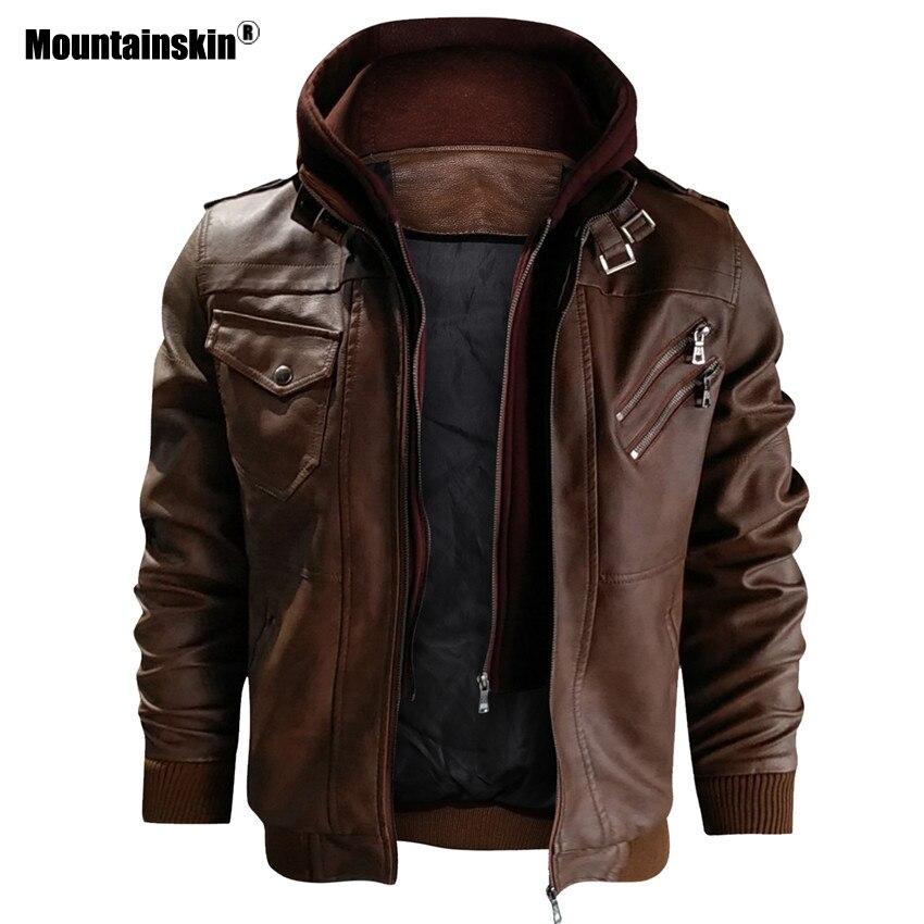 Alpinskin 2019 nouveaux hommes vestes en cuir automne décontracté moto veste en cuir synthétique polyuréthane Biker manteaux en cuir marque vêtements EU taille SA722 - 2