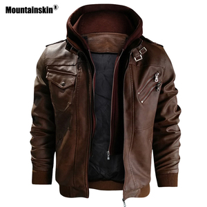 Image 2 - Mountainskin חדש גברים של מעילי עור סתיו מזדמן אופנוע PU מעיל עור אופנוען מעילי מותג בגדים האיחוד האירופי גודל SA722
