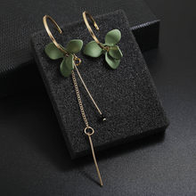 Trendy Flower Women Dangle Earrings Golden Big Circle Two Color Spray Paint Asymmetrical Earrings For Women Drops Earrings(China)