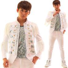 Men tassel diamond blazer designs homme terno costumes stage clothes for singe men blazer dance jacket style dress white punk