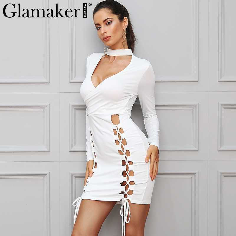 c28e107af3f6e Glamaker Lace up sexy elegant choker dress women Bodycon deep v neck short dress  Long sleeve
