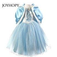 2PCS Girl Dress Princess Dresses Cloak Children Dresses Anna Elsa Cosplay Costume Kids Party Dress Baby