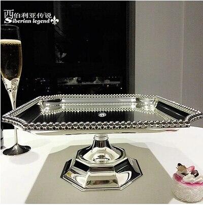Mode verzilverd metalen Vierkante cake pan taart decoreren gereedschappen bakken cake stand cake decorating tool DGP047-in Standaarden van Huis & Tuin op  Groep 1