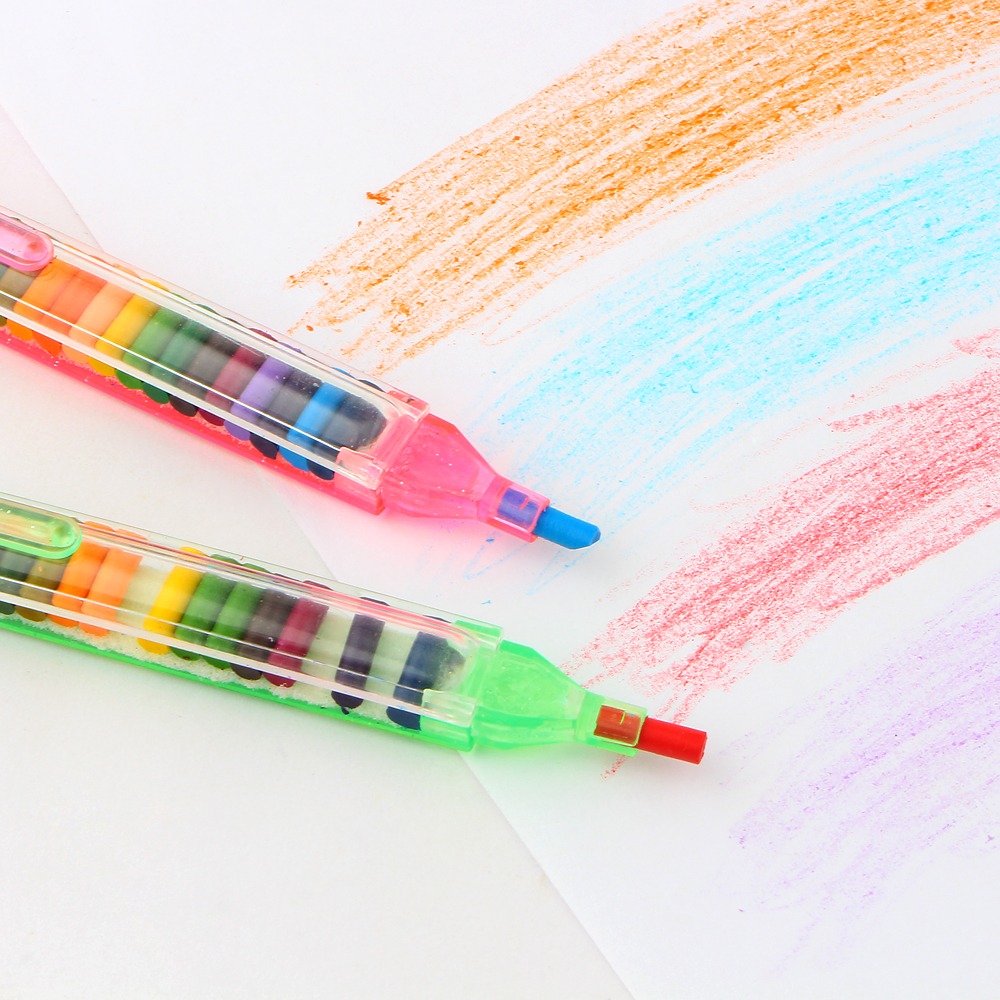 2Pcs/lot 20 Colors Crayons Stacker Pencils Drawing Crayon Graffiti Pen Gift For Children Kids Oil Pastel Crayons Pen