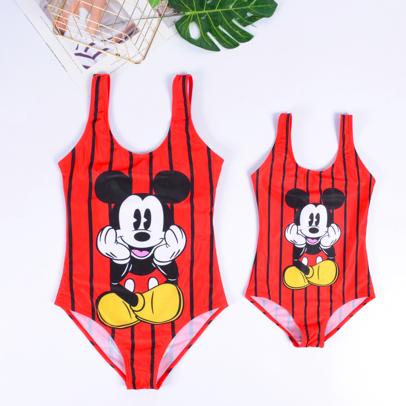Swimsuit 2019 Push Up Bikini Monokini String Family Matching Printed Cartoon Swimsuit One Piece Swimwear For Women Girls