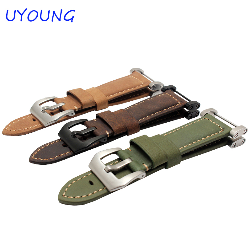 Hot Sale Quality Crazy Horse Leather Watch Band 24mm Khaki