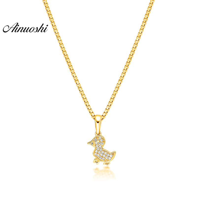 все цены на AINUOSHI 10K Solid Yellow Gold Pendant Shining Little Duck Pendant SONA Diamond Women Men Children Gold Jewelry Separate Pendant онлайн