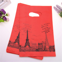 2017 New Style Wholesale 100pcs/lot 20*30cm Luxury Red Wedding Packaging Bags With Eiffel Tower Plastic Year Gift