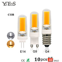 10pcs Lot COB Led Lamps G4 G9 E14 LED Bulbs AC 220V Warm White 360 Beam Angle Spotlight Chandelier Lights Replace Halogen Lamps