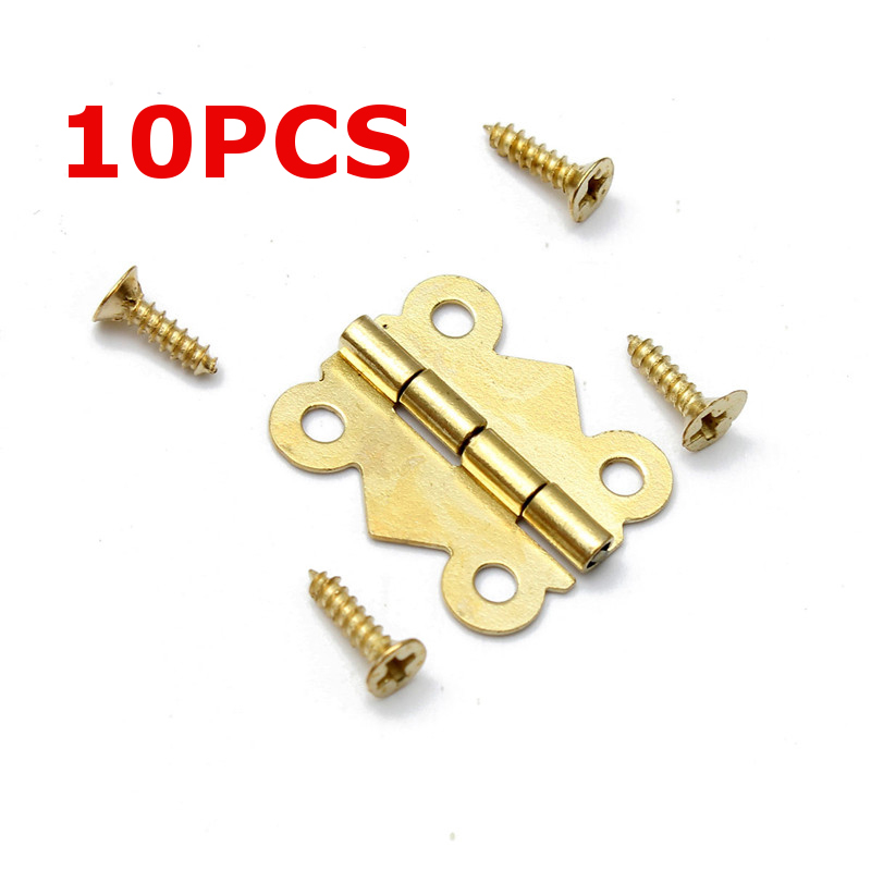 10pcs Mini Butterfly Iron Hinges Cabinet Drawer Door Jewelry Box Hinges with Screws For DIY Cabinet Tools Furniture Hinge Mayitr 2pcs 90 degree concealed hinges cabinet cupboard furniture hinges bridge shaped door hinge with screws diy hardware tools mayitr